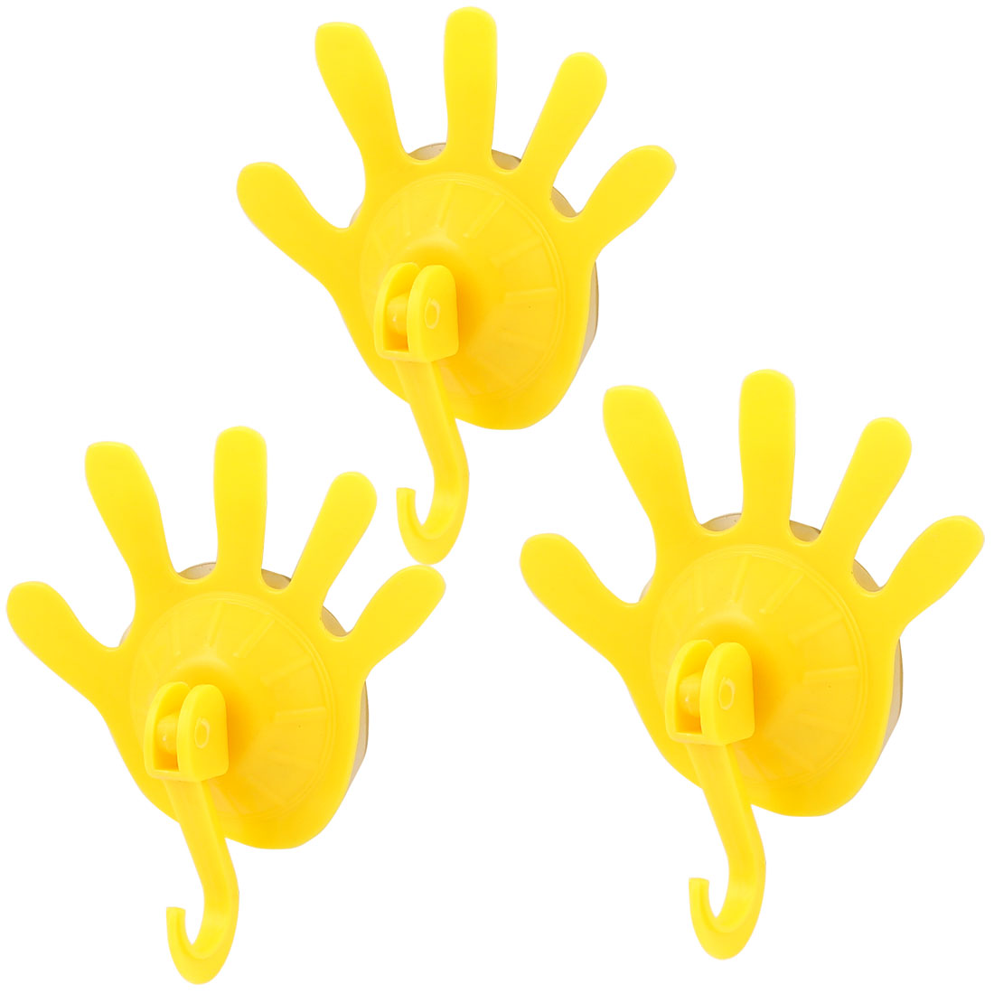 Plastic Palm Shape Suction Cup Hook Towel Clothes Holder Wall Hanger Yellow 3pcs