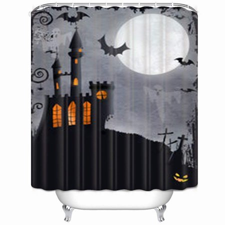 WOPOP Halloween Haunted Castle Bats Ghosts Holidays Parks Outdoor Shower Curtain 66x72 Inches (Holiday Park Germany Halloween)