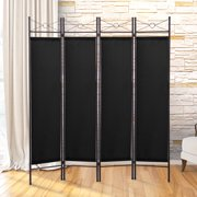 Jaxpety 4 Panel Room Divider Screens Home Office Folding Privacy Screens with Steel Frame & Fabric Surface Freestanding Room Dividers,Black