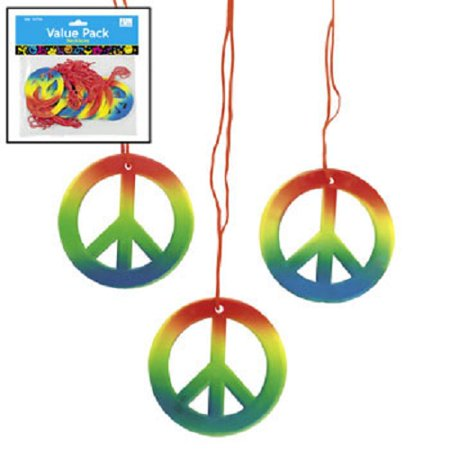 Lot of 48 Rainbow Peace Sign Necklaces Retro 60s 70s Hippie Party Favors