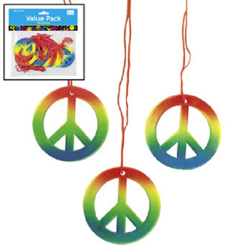 Lot of 48 Rainbow Peace Sign Necklaces Retro 60s 70s Hippie Party Favors