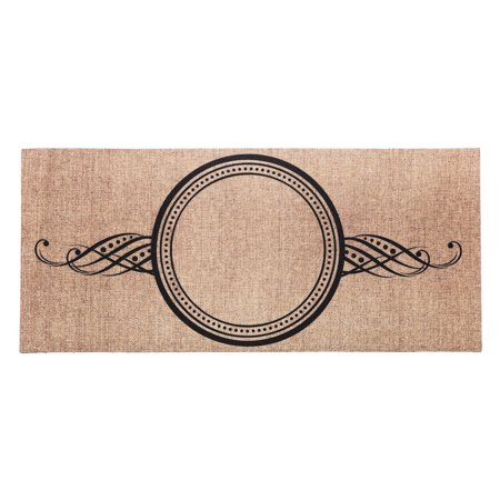 Evergreen Personalize Burlap Swirl Decorative Mat Insert, 10 x 22 inches