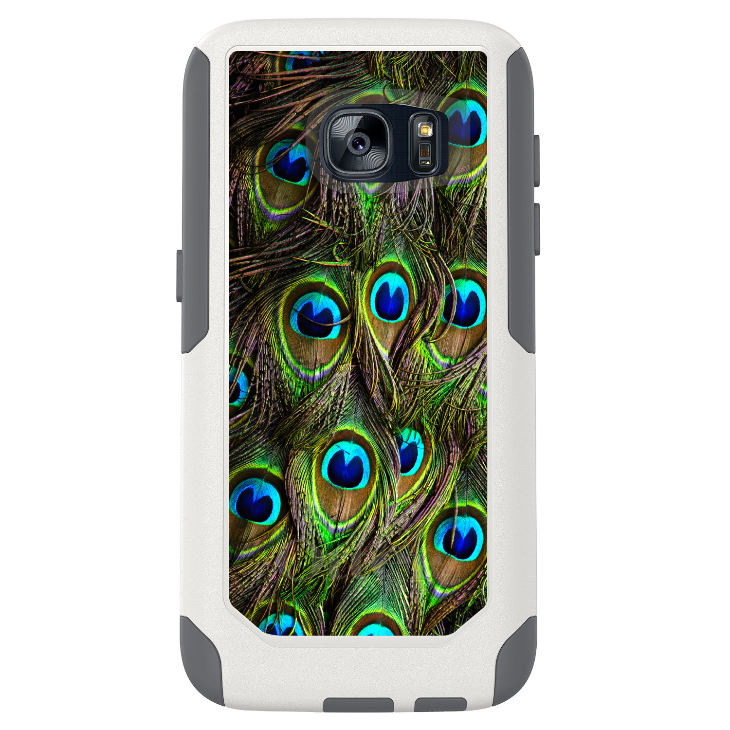 DistinctInk™ Custom White OtterBox Commuter Series Case for Samsung Galaxy S7 - Peacock Feathers