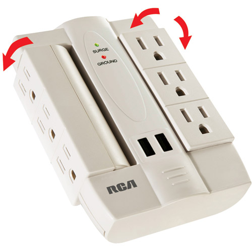 RCA 6-Outlet Surge Protector with 2 USB Ports