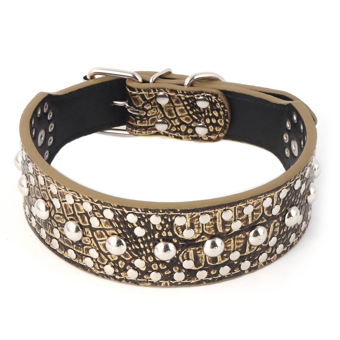 Pet Faux Leather Rivet Spiked Studded Crocodile Grain Dog Collar Neck Strap