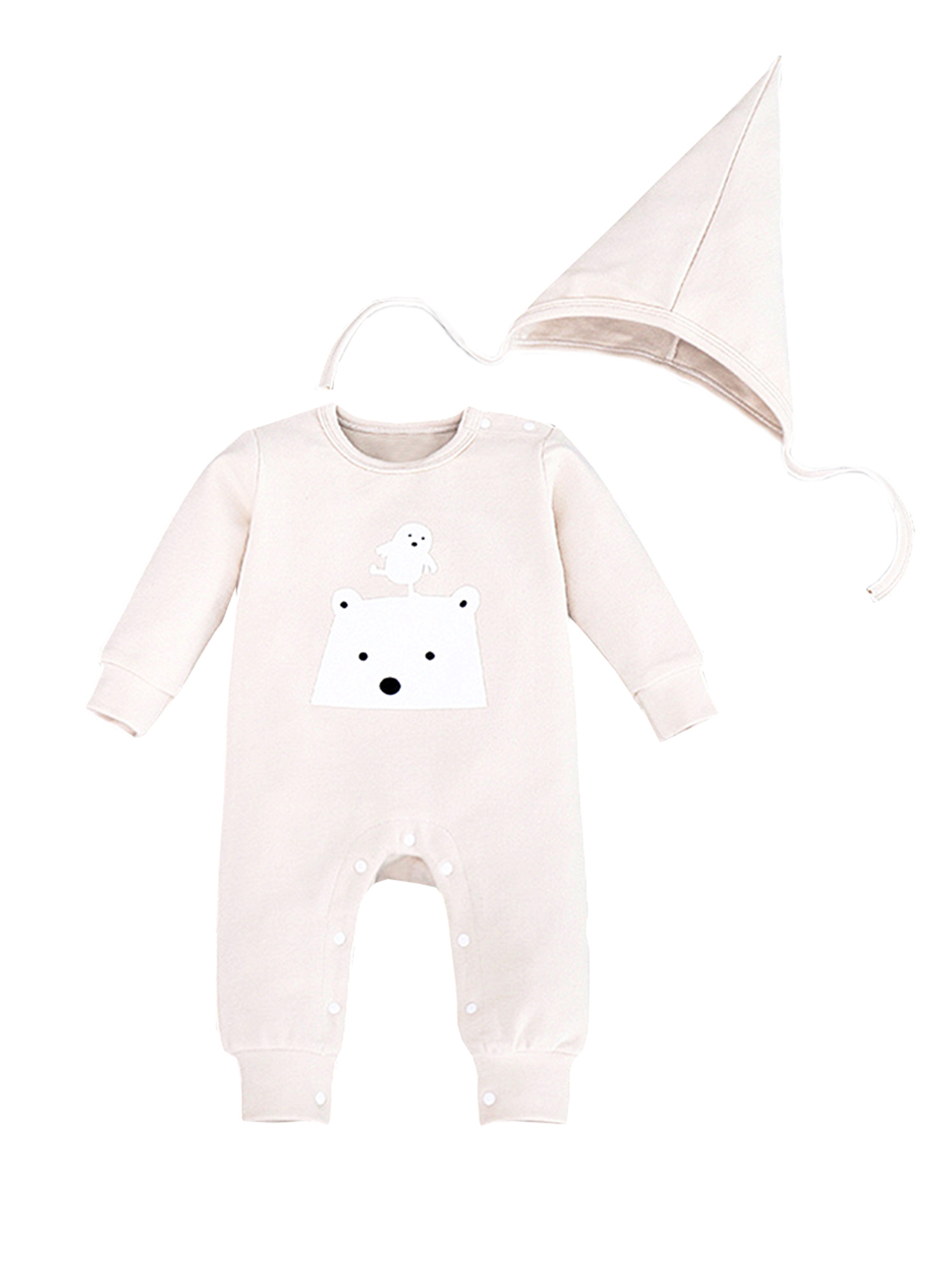 StylesILove Polar Bear Baby Coverall Romper and Hat 2-piece (6-12 Months, Black)