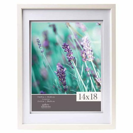 Gallery Solutions 14x18 White Wood Wall Frame With Double