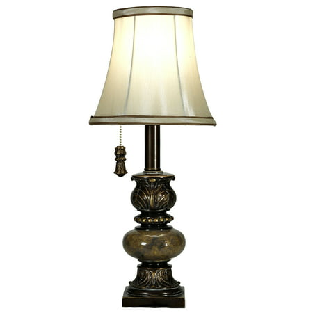 Lacquer Accent Table Lamp (Trieste Accent Table Lamp With Pull Chain - Marble Finish - Ivory Fabric)