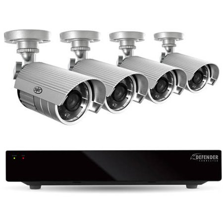 Defender 8-Channel, 4-Camera Outdoor Wired 1TB DVR Surveillance System 21377