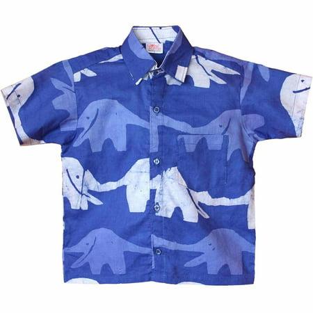 - Boys Button Down Shirt - Blueberry Elephant - Global Mamas (C)