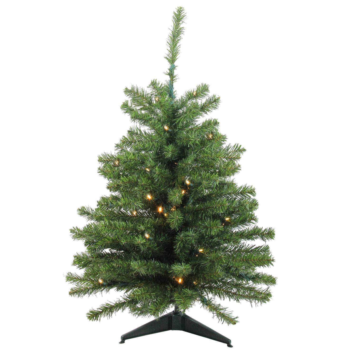 Darice 3' Pre - Lit LED Natural Two - Tone Pine Artificial Christmas Tree  - Clear Lights