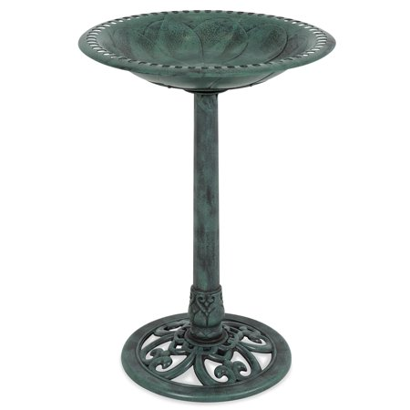 Best Choice Products Outdoor Vintage Resin Pedestal Bird Bath Accent Decoration for Garden, Yard w/ Fleur-de-Lys Accents - Green ()
