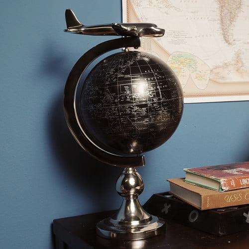 Old Modern Handicrafts Decorative Airplane on Globe with Brass Stand