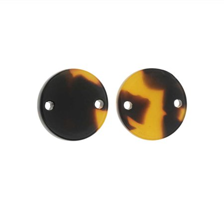 Zola Elements Acetate Connector Link, Coin 14mm, 2 Pieces, Brown Tortoise Shell