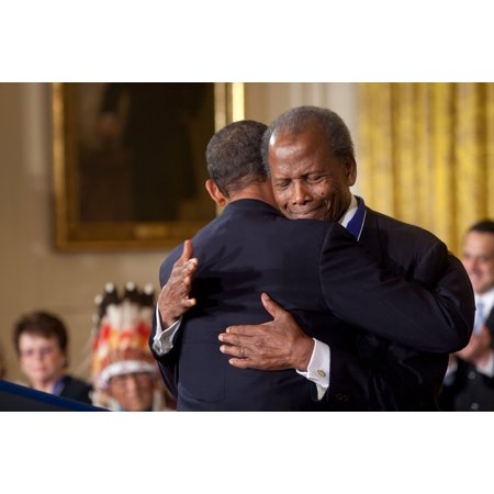President Obama Hugs Sidney Poitier During The Award Ceremony For The Presidential Medal Of Freedom In The White House East Room Aug 12 2009 History ()