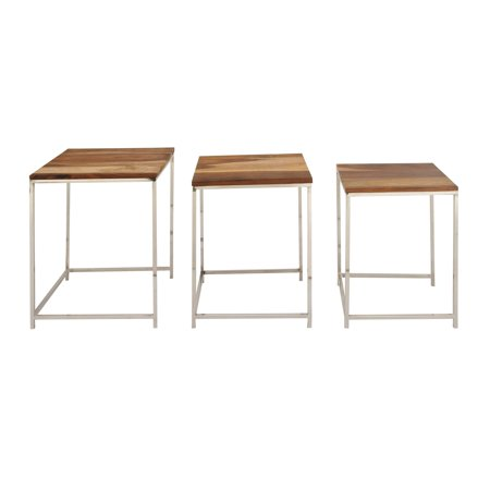Art Deco Nesting Tables - Decmode Set of 2 Contemporary 18, 20 and 21 Inch Rosewood and Stainless Steel Nesting Tables, Brown