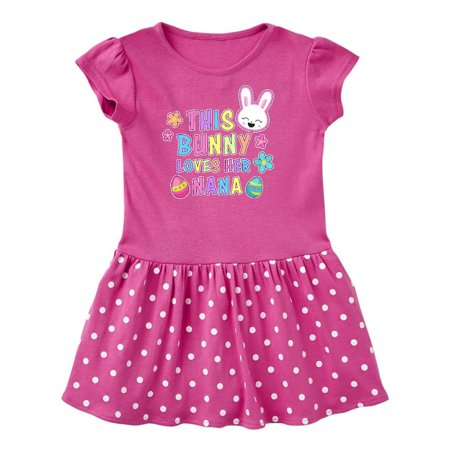 This Bunny Loves Her Nana with Bunny Face and Flowers Toddler Dress