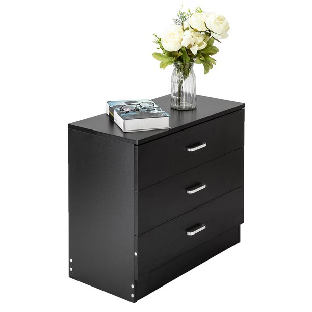 "3-Drawers Nightstand, Heavy Duty Bedroom Side Table Bedside Table File Cabinet, P2 Wood Chest of Drawers, Compact Storage Drawers for Bedroom, Living Room, Holds up to 180 lbs, 26"" x 13"" x 22"", Q2777"