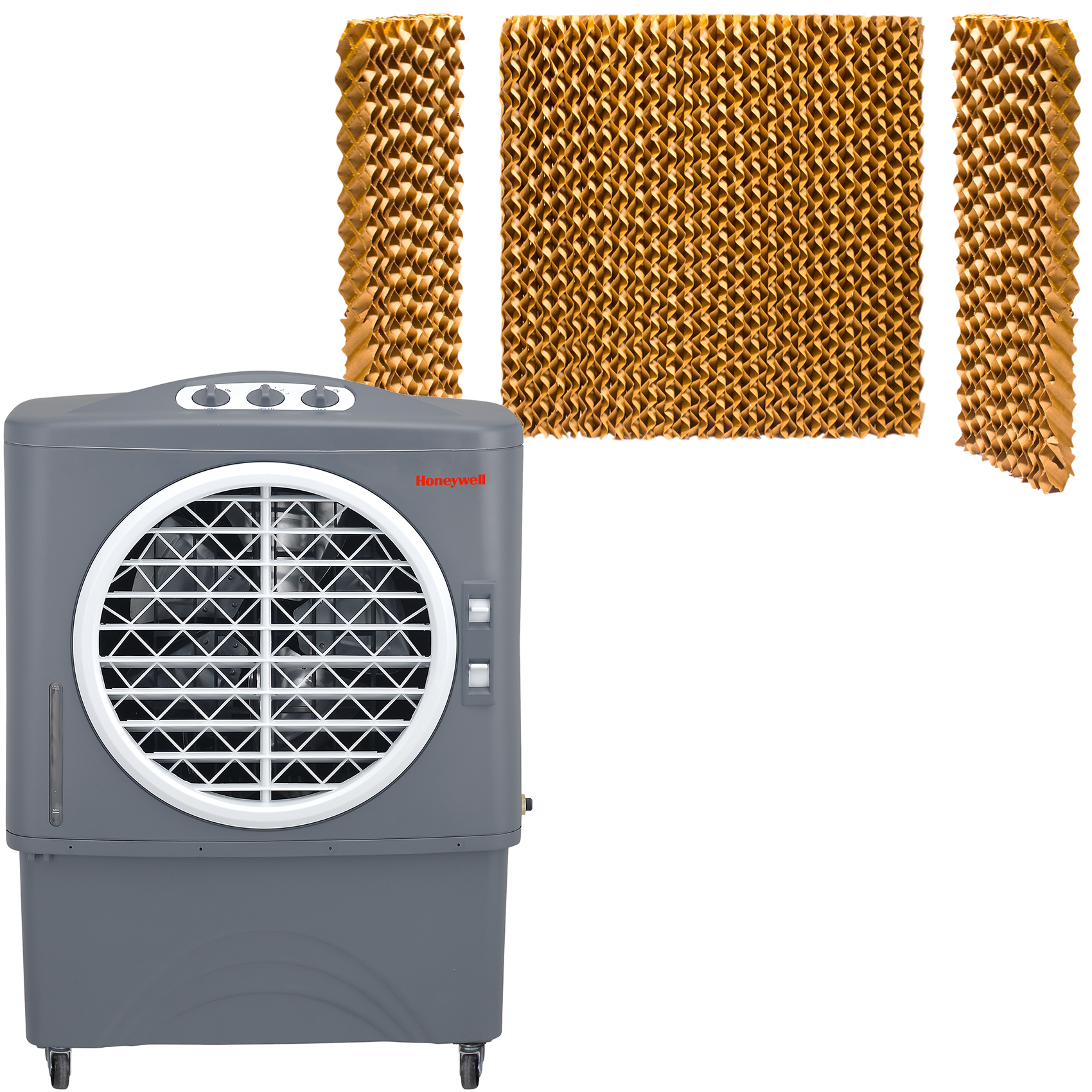 Honeywell 1062 CFM Indoor/Outdoor Evaporative Air Cooler (Swamp Cooler) with Mechanical Controls in Gray with Bonus Replacement Filters