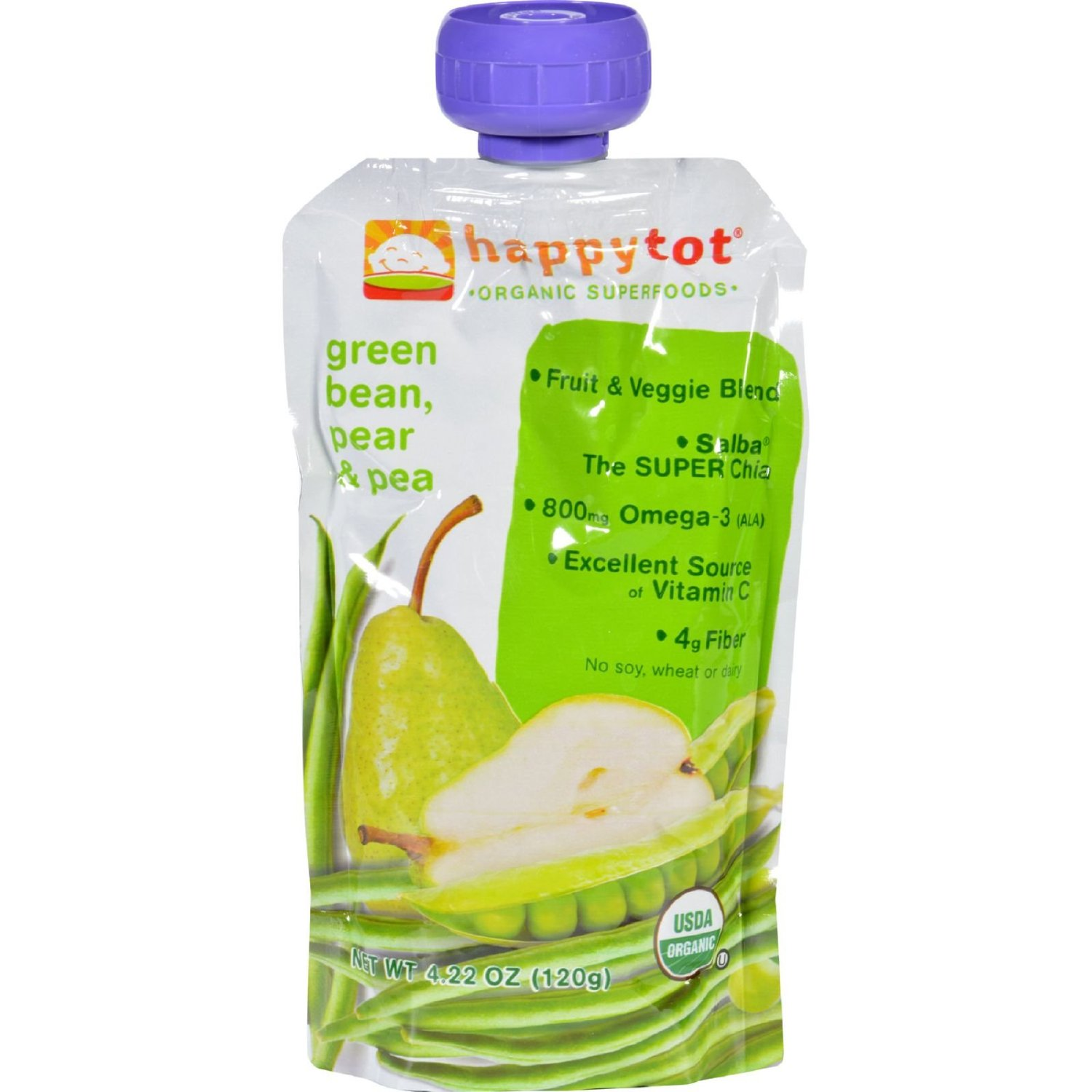 Happy Tot Toddler Food – Organic – Green Bean Pear and Pea – 4/4.22oz – case of 4