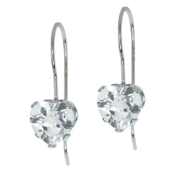 2.00 Ct Heart Shape Sky Blue Topaz Sterling Silver 5-prong Dangle Earrings 6mm