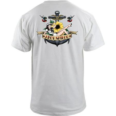 Navy Ahoy Sailor Pinup Girl Tattoo Sailor Jerry Style T-Shirt