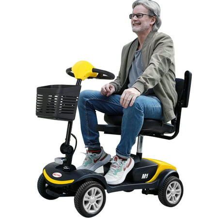 Outdoor Motorized Electric Carts for Senior, Heavy Duty Handicap Electric Scooters with 4 Wheel, Sliding Swivel Seat with Flip-Up Armrests for Handicapped, Easy Assembly, 265lbs, Yellow, SS782