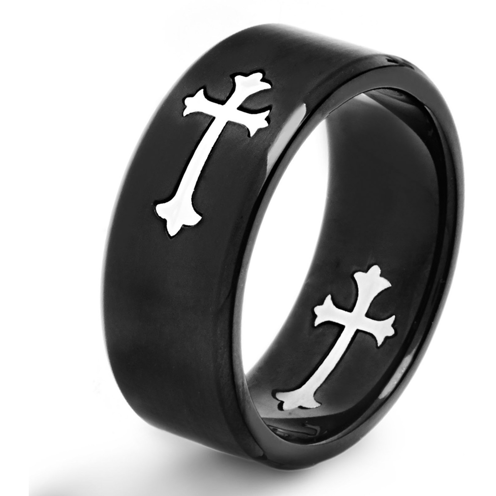 Crucible Stainless Steel Black-Plated Brushed Cutout Cross Ring