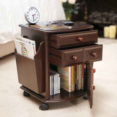 Collections Etc Multi Storage Mahogany Finish Companion Side Table with Rolling Wheels Bedroom Mahogany Side Table