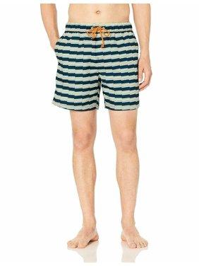 Original Penguin Men's Stripe Elastic Waist Swim Short Dark Sapphire Zig Zag XXL