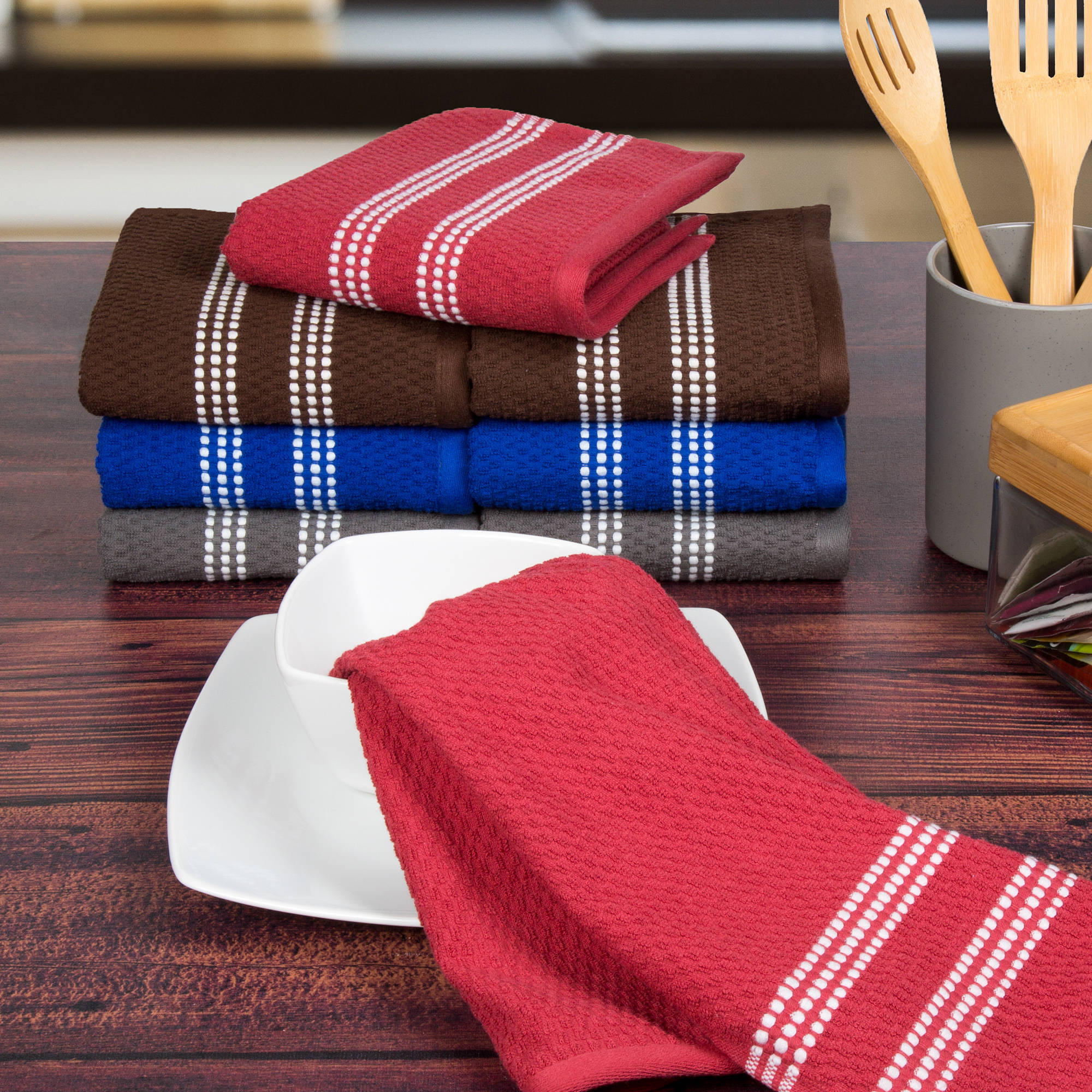 Click here to buy Somerset Home 8-Piece Cotton Popcorn Terry Kitchen Towel Set by Trademark Global LLC.