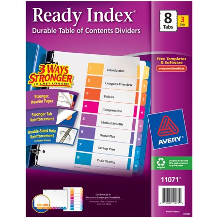 Avery Ready Index Table Of Contents Dividers 11071 8 Tab 3 Sets