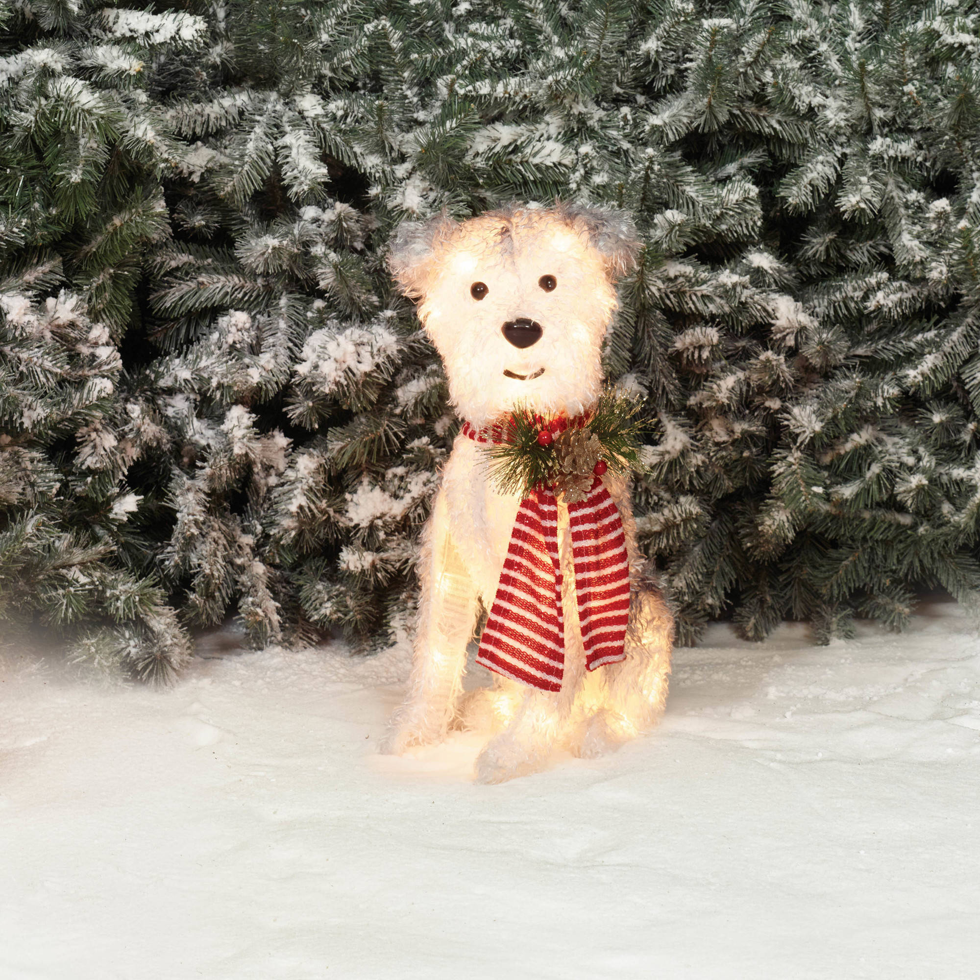 "Holiday Time Christmas Decor 22"" Fluffy Dog with Scarf Sculpture"
