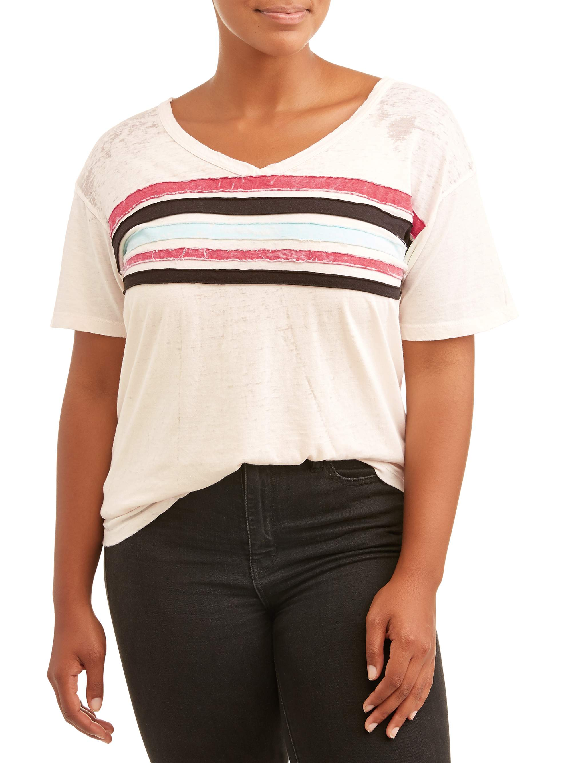 Juniors' Plus Size V-Neck Tee with Stripes