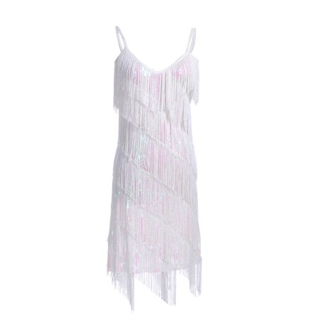 Fashion Womens Fringe Sequin Strap Backless 1920s Flapper Party Mini Dress