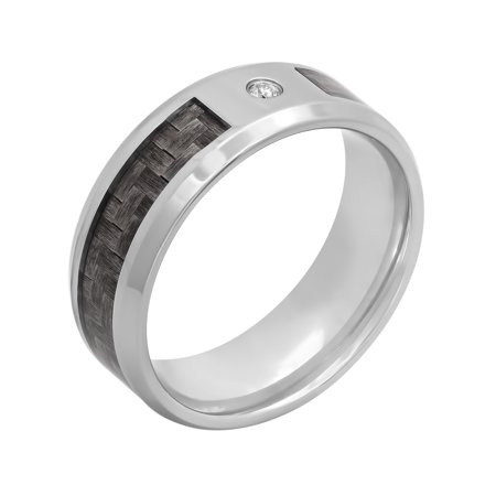 Men's Stainless Steel 8MM Diamond Accent Carbon Fiber Wedding Band – Mens Ring