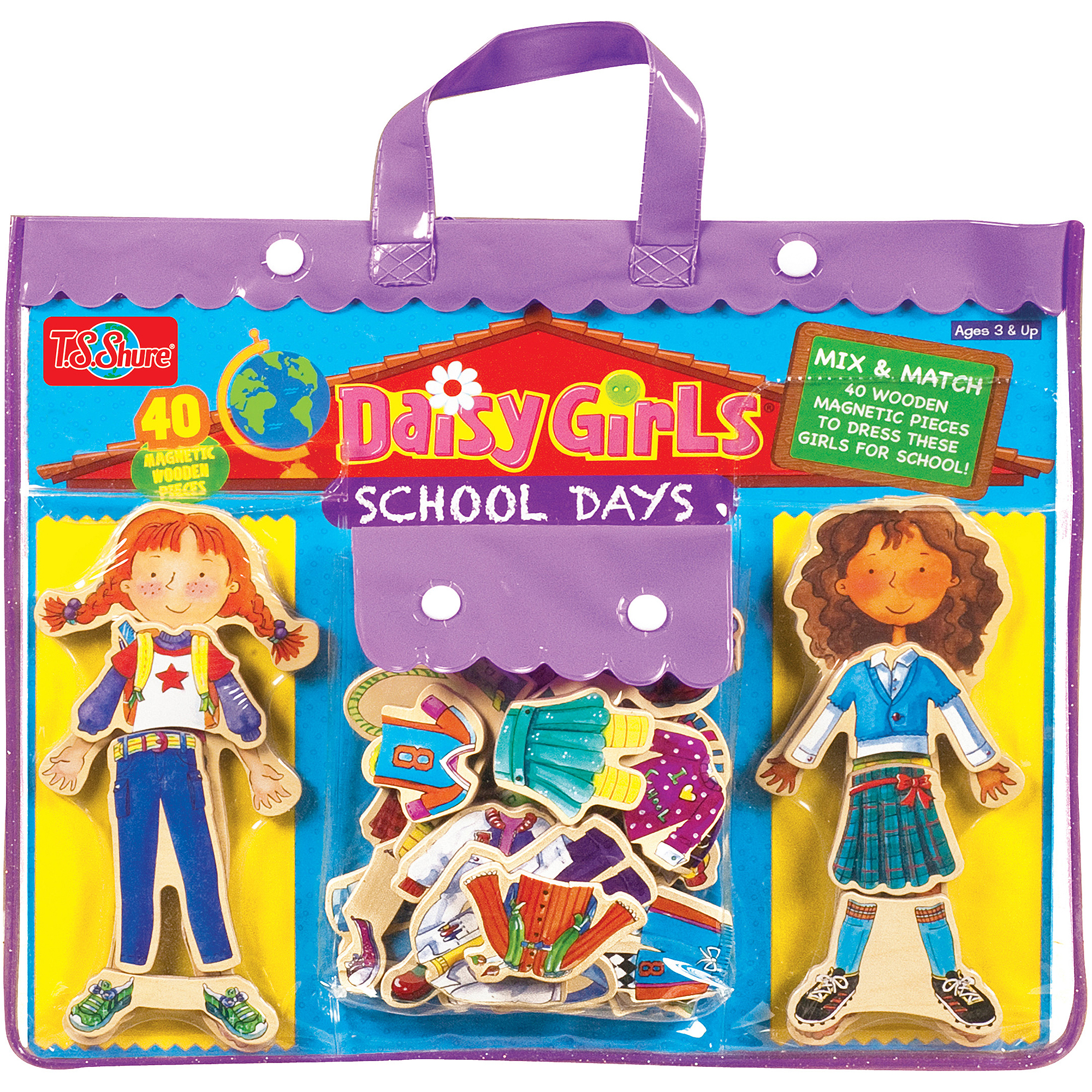 T.S. Shure Daisy Girls' School Days Wooden Magnetic Dress-Up Dolls