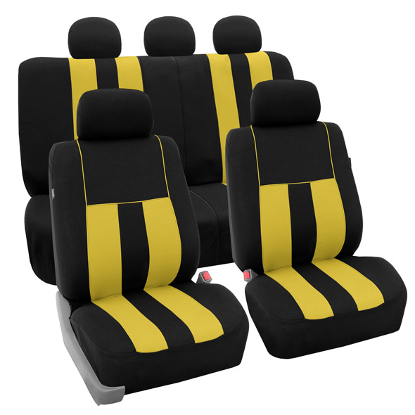 FH Group Striking Striped Airbag Compatible Full Set Seat Covers with Split Bench Function, Yellow