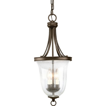 Seeded Glass Three-Light Foyer Pendant