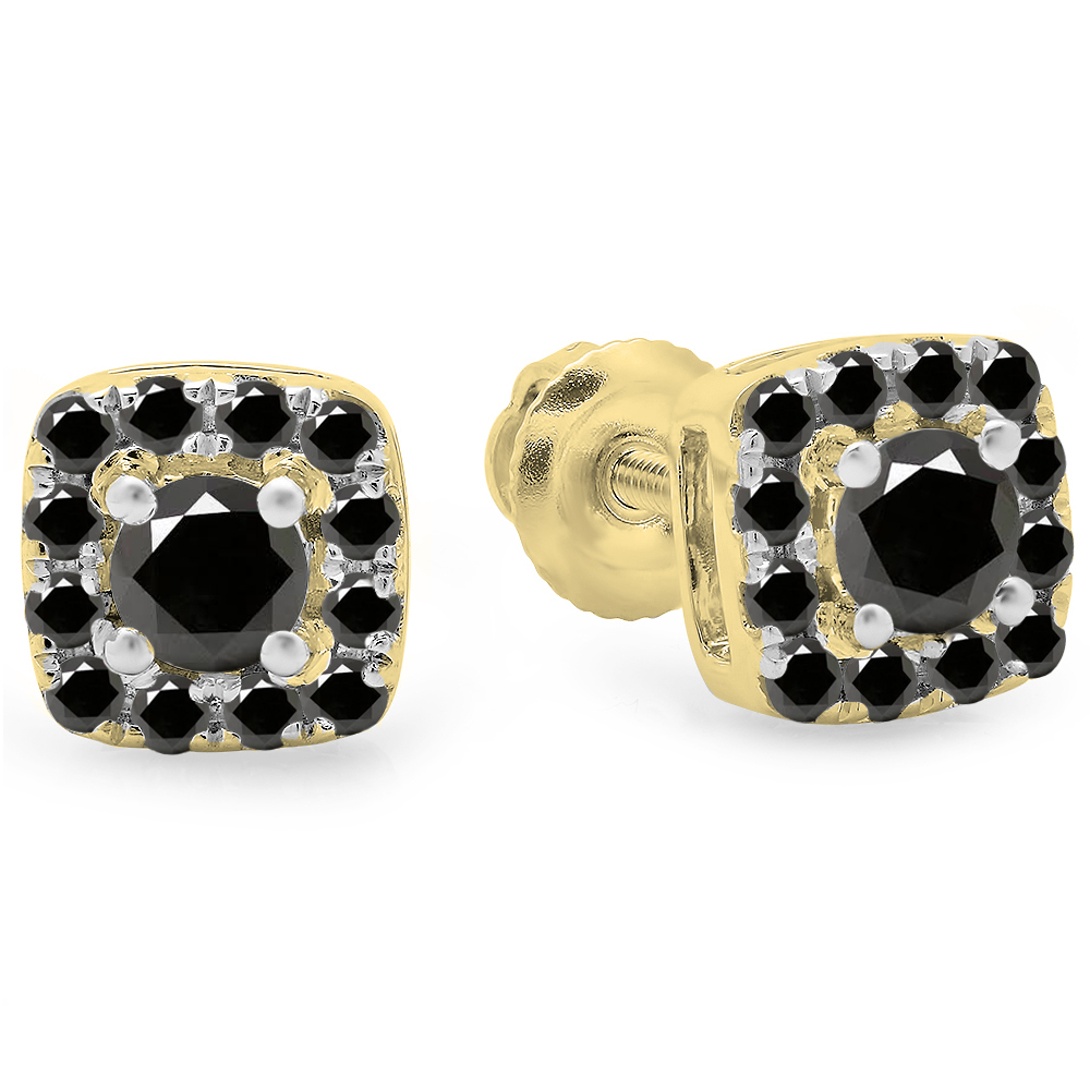0.50 Carat (ctw) 14K Yellow Gold Round Cut Black Diamond Ladies Square Frame Halo Stud Earrings 1/2 CT