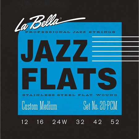 LaBella 20PCM Jazz Flats Stainless Steel Flat Wound Custom-Light Electric Guitar Strings