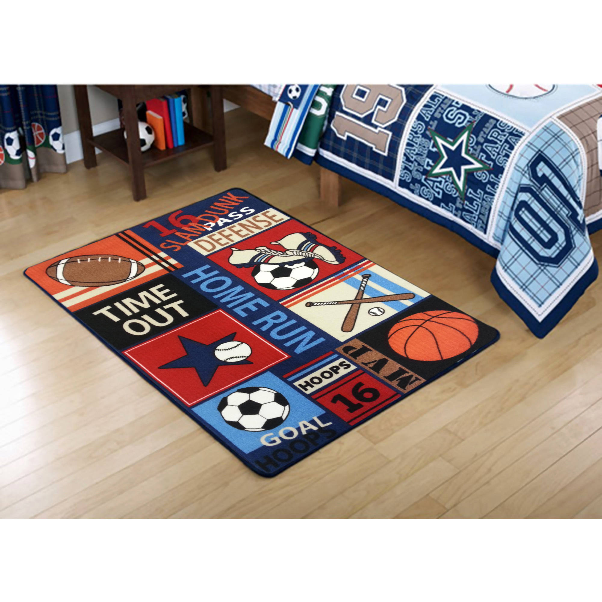 Mainstays Kids All Star Polyester Rectangular Rug, Multi-Color, 3' x 4'8""