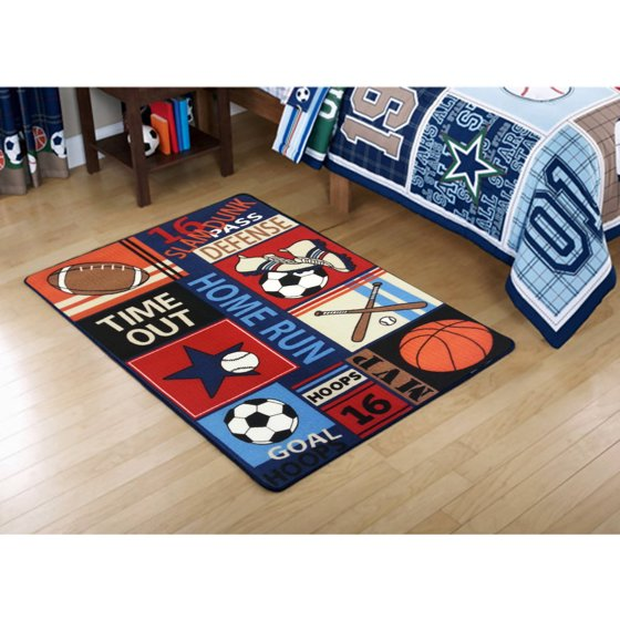 Mainstays Kids All Star Rectangular Royal Plush Rug