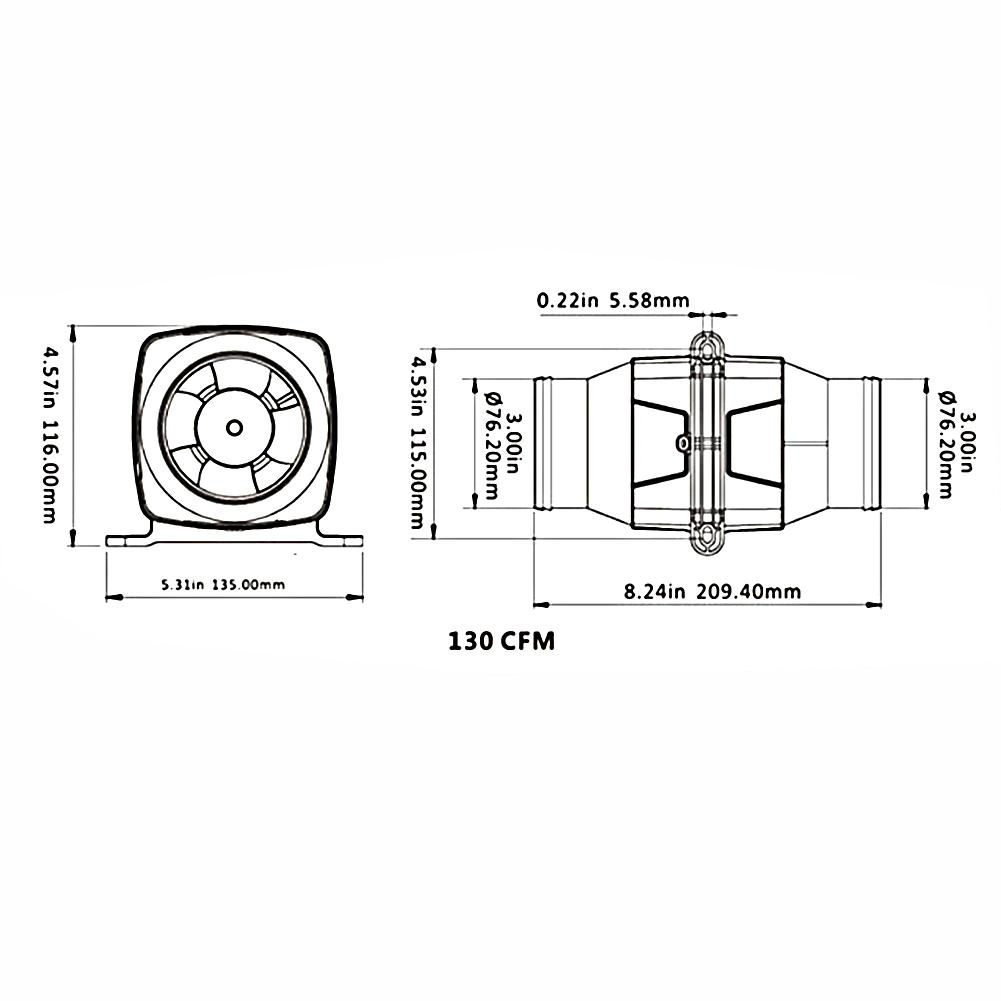 "3/"" In Line Marine Bilge Air Blower Mute Strong Ventilation Fan for Yacht Caravan"