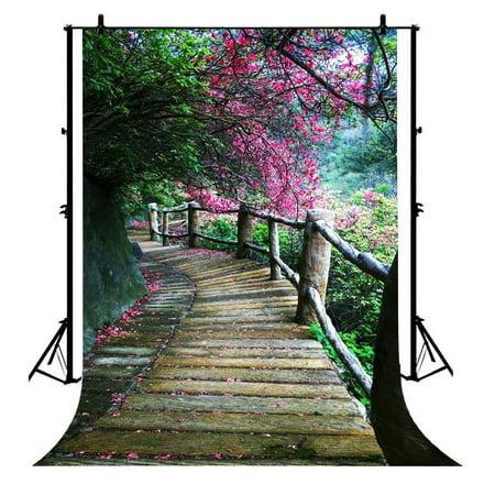 GCKG 7x5ft Park Fallen Petal Green Trees Wood Path Nature Scenery Polyester Photography Backdrop Photo Background Studio Props - image 1 de 4