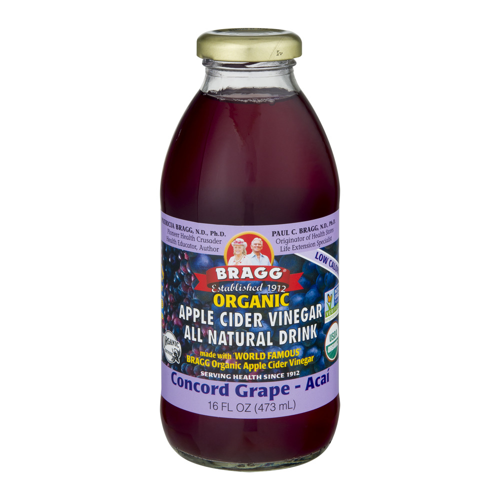 Bragg Organic Apple Cider Vinegar All Natural Drink Concord Grape Acai, 16.0 FL OZ by Bragg Live Food Products
