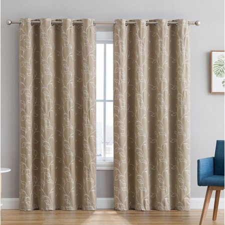 Red Barrel Studio Gilyard Embroidered Floral Blackout Thermal Grommet Curtain Panels (Set of