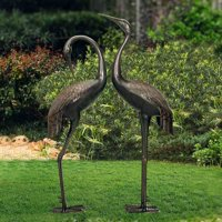 Sunjoy 2PC Cast Aluminum Crane Statue Home Outdoor Garden Art Decor, Bronze