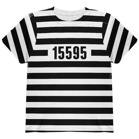 Halloween Prisoner Old Time Striped Costume All Over Youth T Shirt Multi YSM