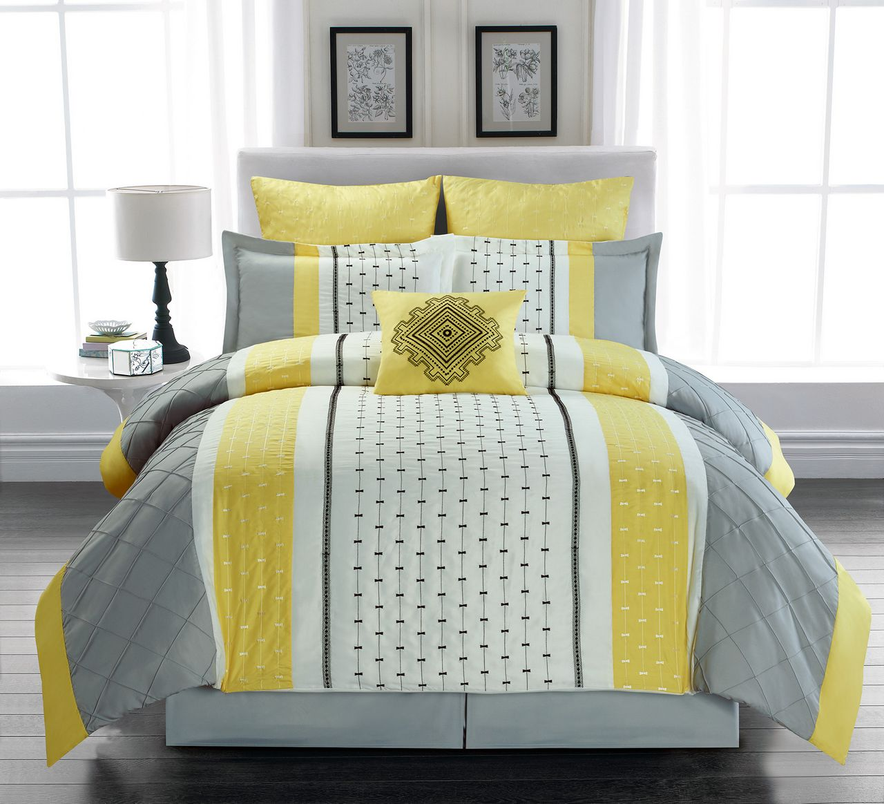 7 Piece Buckley Yellow/Gray/Ivory Comforter Set